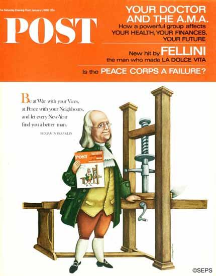Blake Hampton Saturday Evening Post Franklin Prints POST 1966_01_01 | The Saturday Evening Post Graphic Art Covers 1931-1969
