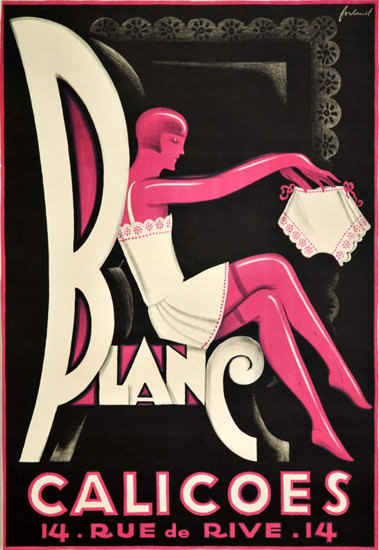 Blanc Calicoes 1935 Geneve Suisse Switzerland | Sex Appeal Vintage Ads and Covers 1891-1970