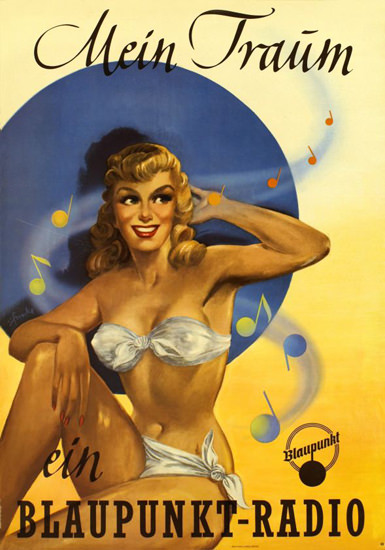 Blaupunkt Radio Mein Traum Pin-Up 1955 | Sex Appeal Vintage Ads and Covers 1891-1970