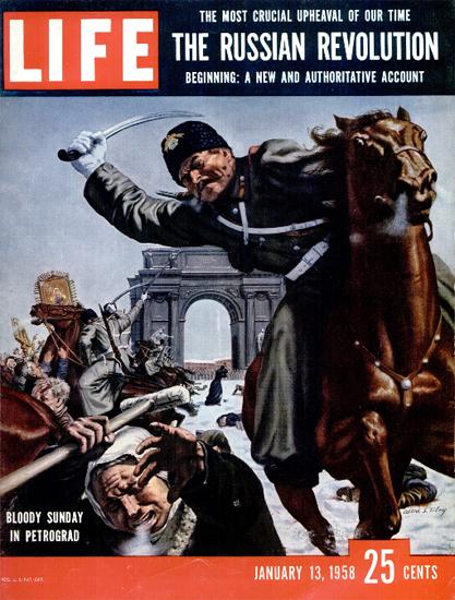 Bloody Sunday in Petrograd 13 Jan 1958 Copyright Life Magazine   Life Magazine Color Photo Covers 1937-1970