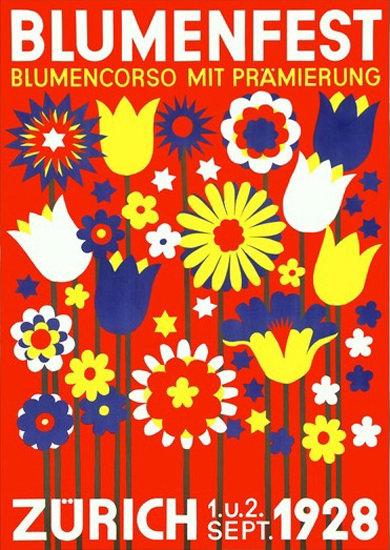 Blumenfest Zuerich 1928 Flowers Schweiz | Vintage Ad and Cover Art 1891-1970
