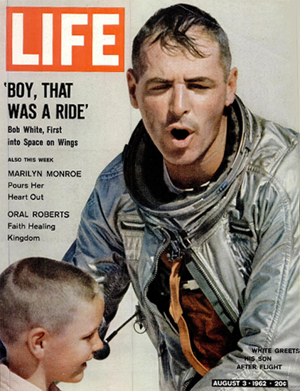 Bob White into Space on Wings 3 Aug 1962 Copyright Life Magazine | Life Magazine Color Photo Covers 1937-1970