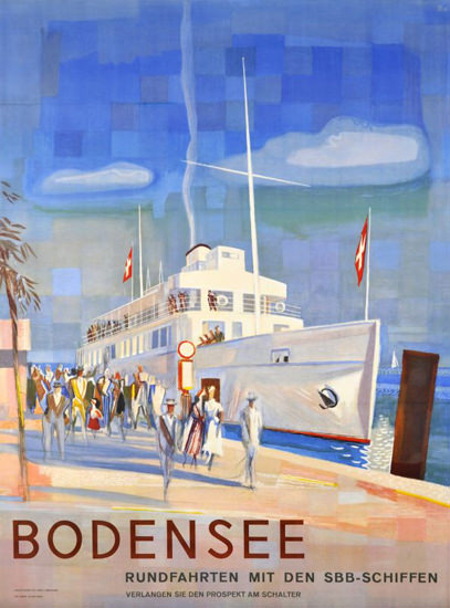 Bodensee Rundfahrten Switzerland 1948 Lake | Vintage Travel Posters 1891-1970