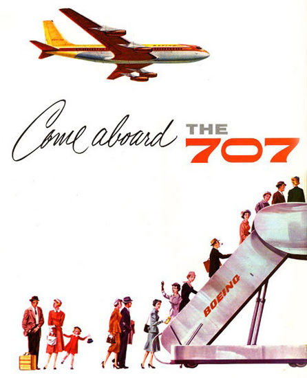 Boeing 707 Come Abord 1958 | Vintage Travel Posters 1891-1970