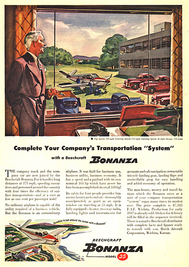 Bonanza Model 35 Beech Aircraft Wichita Kansas | Vintage Travel Posters 1891-1970