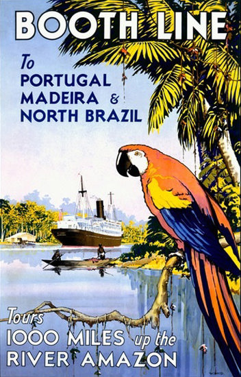 Booth Line Tours River Amazon Portugal Madeira | Vintage Travel Posters 1891-1970