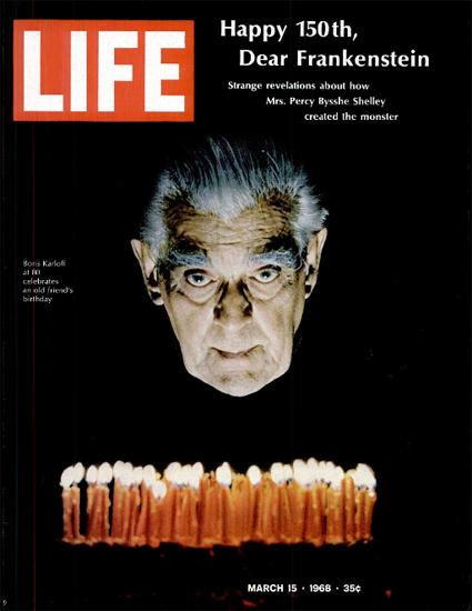 Boris Karloff Frankensteins Monster 15 Mar 1968 Copyright Life Magazine | Life Magazine Color Photo Covers 1937-1970