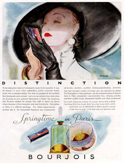 Bourjois Distinction Perfume Spring Paris 1933 | Sex Appeal Vintage Ads and Covers 1891-1970