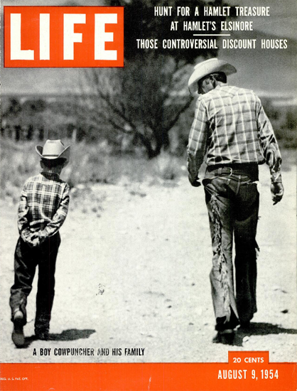 Boy Cowpuncher and his Family 9 Aug 1954 Copyright Life Magazine   Life Magazine BW Photo Covers 1936-1970
