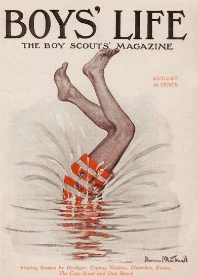 Boys Life August 1915 Norman Rockwell | 400 Norman Rockwell Magazine Covers 1913-1963