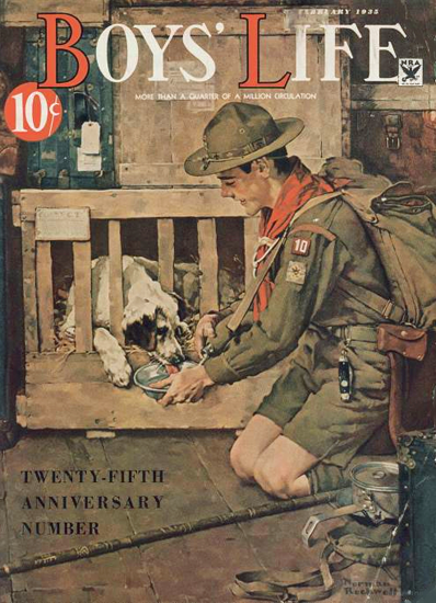 Boys Life February 1935 Norman Rockwell | 400 Norman Rockwell Magazine Covers 1913-1963