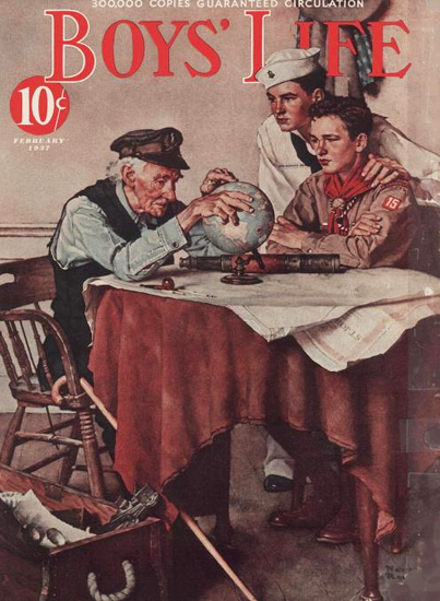 Boys Life February 1937 Norman Rockwell | 400 Norman Rockwell Magazine Covers 1913-1963
