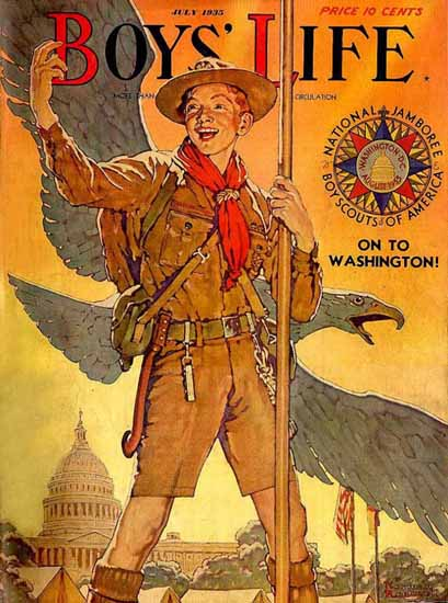 Boys Life July 1935 Norman Rockwell | 400 Norman Rockwell Magazine Covers 1913-1963