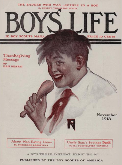 Boys Life November 1913 Norman Rockwell | 400 Norman Rockwell Magazine Covers 1913-1963
