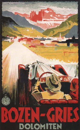 Bozen-Gries Dolomiten Dolomite Alps Italy Italia   Vintage Travel Posters 1891-1970