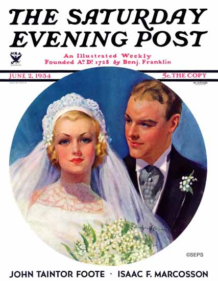 Bradshaw Crandell Saturday Evening Post Bridal Couple 1934_06_02 | The Saturday Evening Post Graphic Art Covers 1931-1969