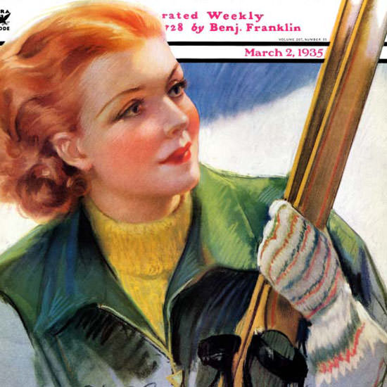 Bradshaw Crandell Saturday Evening Post Skis 1935_03_02 Copyright crop | Best of 1930s Ad and Cover Art