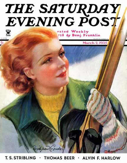 Bradshaw Crandell Saturday Evening Post Woman with Skis 1935_03_02   The Saturday Evening Post Graphic Art Covers 1931-1969