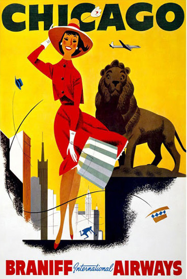 Braniff International Airways Chicago Lion | Sex Appeal Vintage Ads and Covers 1891-1970