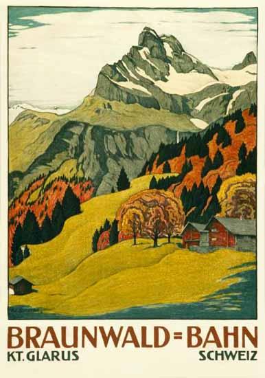 Braunwald Bahn Canton Of Glarus Switzerland 1914 | Vintage Travel Posters 1891-1970