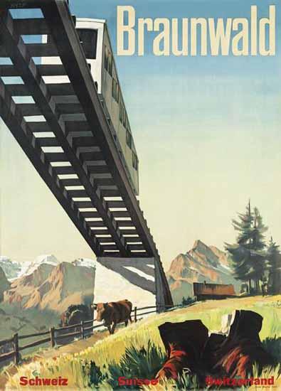 Braunwald Schweiz Suisse Switzerland 1958 | Vintage Travel Posters 1891-1970