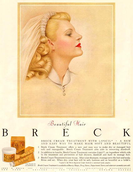 Breck Shampoo Cream For Beautiful Hair 1954 | Sex Appeal Vintage Ads and Covers 1891-1970