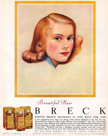Breck Shampoo For Beautiful Hair 1949 | Sex Appeal Vintage Ads and Covers 1891-1970