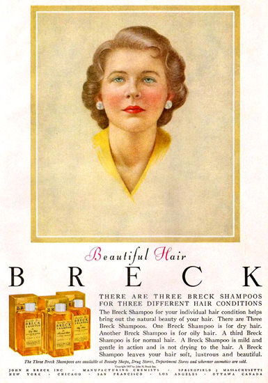 Breck Shampoo For Beautiful Hair 1957 | Sex Appeal Vintage Ads and Covers 1891-1970