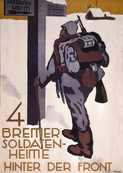 Bremer Soldaten-Heime Hinter Der Front Asylum   Vintage War Propaganda Posters 1891-1970
