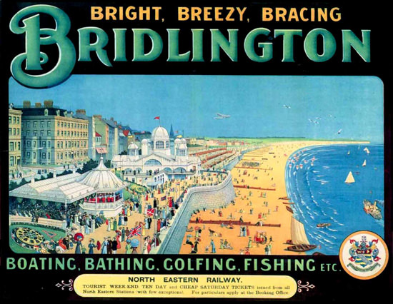 Bridlington Beach Boating Bathing Golfing Fishing | Vintage Travel Posters 1891-1970