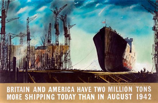 Britain And American Shipping | Vintage War Propaganda Posters 1891-1970