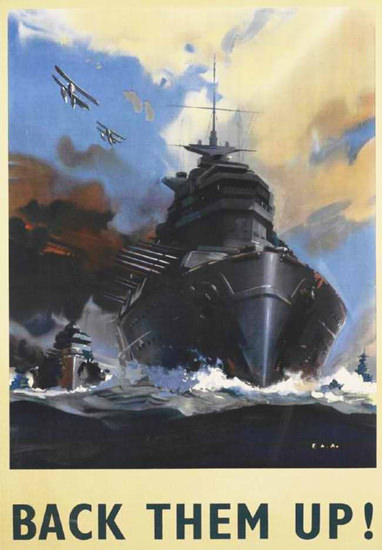 British Armed Forces Back Them Up 02   Vintage War Propaganda Posters 1891-1970