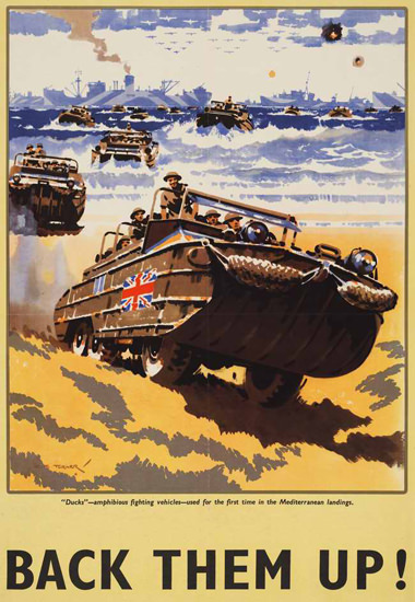 British Armed Forces Back Them Up 03 | Vintage War Propaganda Posters 1891-1970