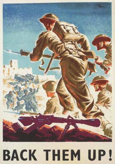British Armed Forces Back Them Up 04 | Vintage War Propaganda Posters 1891-1970