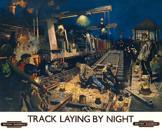 British Railways Track Laying By Night | Vintage Travel Posters 1891-1970