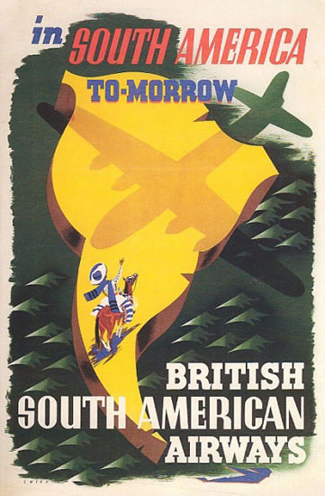 British South American Airways 1947 | Vintage Travel Posters 1891-1970