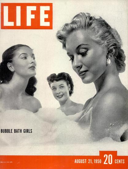 Bubble Bath Girls 21 Aug 1950 Copyright Life Magazine | Life Magazine BW Photo Covers 1936-1970