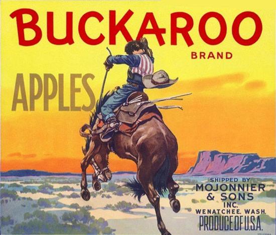 Buckaroo Apples Wanatchee Bucking Bronco | Vintage Ad and Cover Art 1891-1970