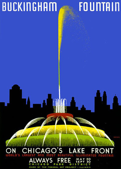 Buckingham Fountain Chicago Lake Front 1930s | Vintage Travel Posters 1891-1970
