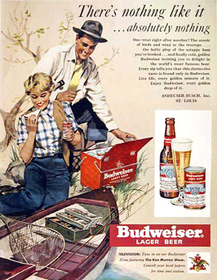 Budweiser Beer 1950 Absolutely Nothing | Vintage Ad and Cover Art 1891-1970