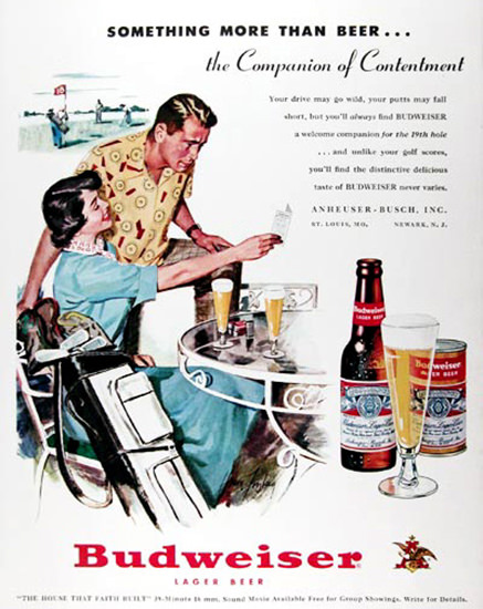 Budweiser Beer 1951 Golfing | Vintage Ad and Cover Art 1891-1970