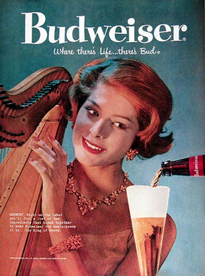 Budweiser Beer 1959 Harp-Player | Sex Appeal Vintage Ads and Covers 1891-1970