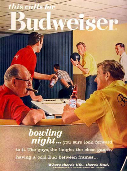 Budweiser Beer 1962 Bowling Night | Vintage Ad and Cover Art 1891-1970