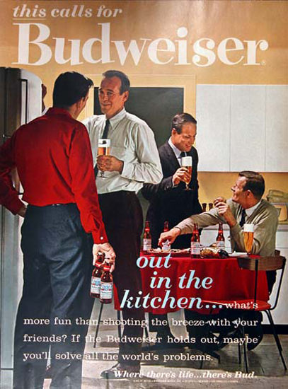 Budweiser Beer 1962 Men Out In The Kitchen | Vintage Ad and Cover Art 1891-1970