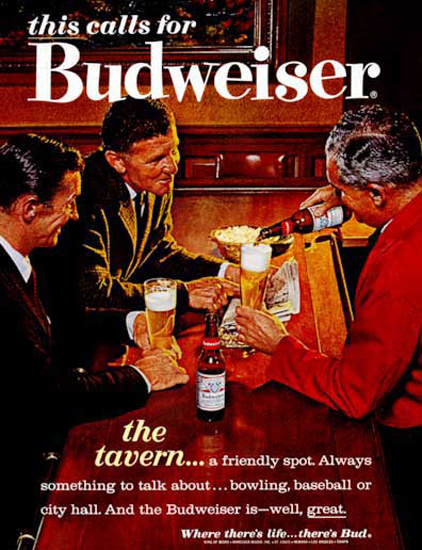 Budweiser Beer 1963 In The Tavern Friendly Spot   Vintage Ad and Cover Art 1891-1970