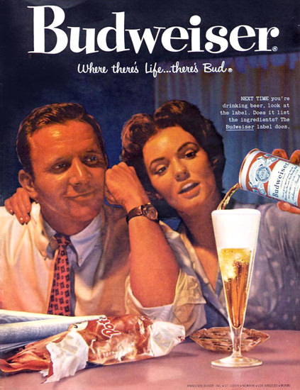 Budweiser Beer And Chips 1959   Vintage Ad and Cover Art 1891-1970