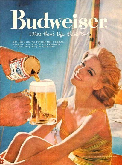 Budweiser Beer Beach Girl 1959 | Sex Appeal Vintage Ads and Covers 1891-1970