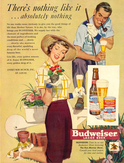 Budweiser Beer Gardening 1950 | Sex Appeal Vintage Ads and Covers 1891-1970