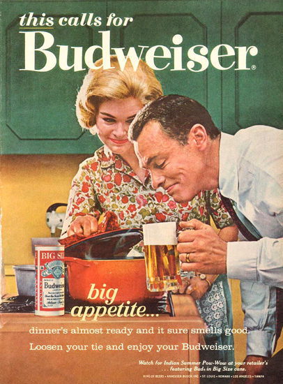 Budweiser Beer In The Kitchen 1963 | Vintage Ad and Cover Art 1891-1970