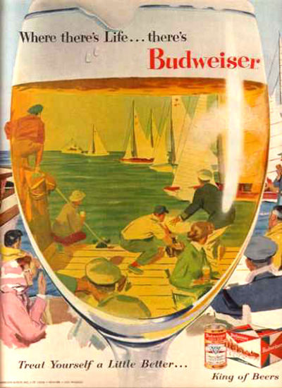 Budweiser Beer Jachting 1956 | Vintage Ad and Cover Art 1891-1970